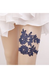 Original Handmade Beaded Blue Lace Princess Style Elastic Garter Belt Within 16-23inch