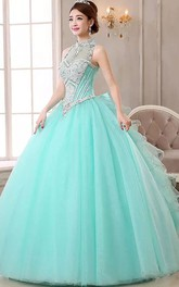 Ball Gown High Neck Sleeveless Floor-length Organza Tulle Prom Dress with Beading and Ruffles
