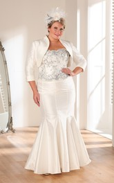 Trumpet Long Strapless 3-4-Sleeve Satin Appliques Dress