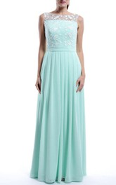 Floor-length Strapped Sleeveless Chiffon&Lace Dress