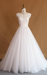 Ball Gown Cap Sleeve Lace Satin Dress With Beading Appliques Illusion