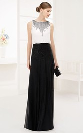 Bateau Sleeveless Chiffon Long Prom Dress With Sequins And Back Keyhole
