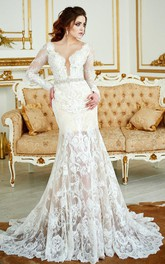 Deep-V-Neck Lace Illusion Long Sleeve Mermaid Beaded Wedding Dress With Skirt
