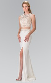 Two-Piece Sheath Scoop-Neck Sleeveless Jersey Illusion Dress With Split Front And Beading