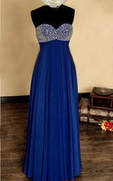 Empire Strapless Sweetheart Chiffon&Satin Dress With Beading&Sequins&Zipper