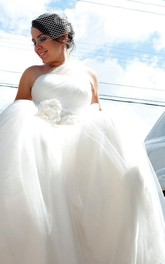 One Shoulder Empire Organza Wedding Dress With Flowers Bow And Crystal Detailing