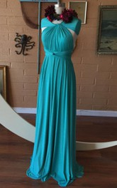 Pool Blue Satin Jersey Convertible Infinity Wrap Maternity Dress