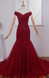 Glamorous Off-the-Shoulder Mermaid 2018 Evening Dresses Tulle Burgundy