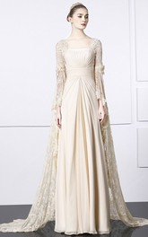 Square Sheath Lace Chiffon Unique Gown With Bat Sleeve And Train