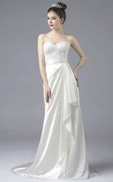 Elegant Sweetheart Open Back Satin Lace Appliques Gown With Draping And Buttons