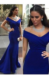 Trumpet Off-the-shoulder Sleeveless Satin Sweep Brush Train Dress
