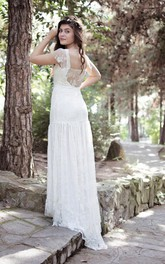 Square Cap Sheath Lace Wedding Dress With Pleats And Illusion Back