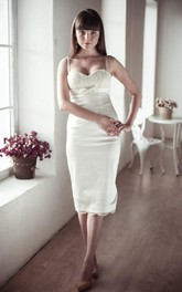 Spaghetti Sheath Knee-Length Satin Wedding Dress With Sash And Lace