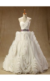 Strapless Lace-Up Back Long Chiffon Wedding Dress With Sash And Ruffles