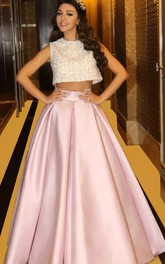 Two Piece High Neck Jewel Sleeveless Floor-length Satin Prom Dress with Pleats and Sequins