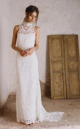 Bohemian Lace High Neck Sleeveless Bridal Gown with Sweep Train
