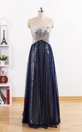 Sweetheart A-line Chiffon Dress With Sequins
