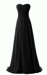 Sweetheart A-line Chiffon Gown With Criss-cross Ruching