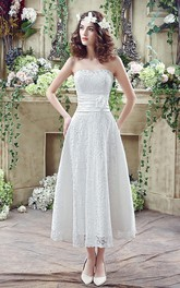 Delicate Lace Flower Strapless 2018 Wedding Dress A-line Sleeveless Lace-up