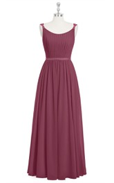 Sleeveless Pleated Long Chiffon Dress With Scoop Neckline