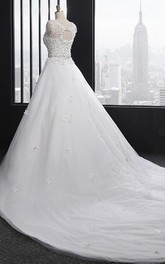 Scoop Neck Long A-line Tulle Wedding Dress With Ruffles And Appliques