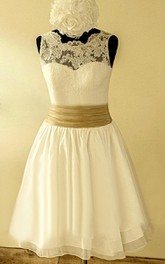 Scalloped Sleeveless Button Back Chiffon Wedding Dress With Sash And Flower