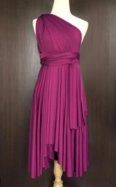 Magenta Bridesmaid Convertible Wrap Wedding Cocktail Twist Evening Dress