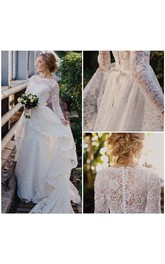 Long Sleeve High Neck Layered High Low Lace Gown With Illusion Back