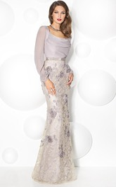 Sheath Puff-Sleeve Scoop-Neck Floral Floor-Length Prom Dress With Beading And Bow