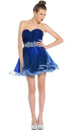 Mini A-Line Jeweled Sweetheart Sleeveless Organza Prom Dress