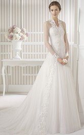 Long Long-Sleeve Appliqued Tulle Wedding Dress With Sweep Train And Illusion