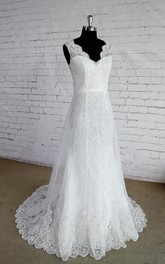 Double Layered V-Neck Sleeveless Lace Wedding Dress With Lace Trim