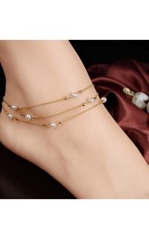 Multi-layer Copper Beads Pearl Women'S Bracelet 27Cm