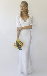 Illusion Half Bell Sleeve V-neck Floor-length Mermaid Lace Wedding Dress With V-back