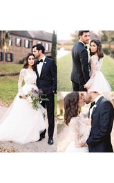 Two Pieces Long Sleeves Lace Bohemian Modest Wedding Dress