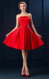 Adorable Strapless Knee Length Dress with Belt