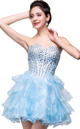 Glamroous Sweetheart Crystal Homecoming Dress 2018 Organza