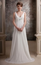 Plunged Pleated Floor-Length Dress With Beaded Waist