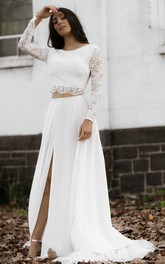 Casual Chiffon Lace Bateau Two Piece Long Sleeve Wedding Dress with Split Front and Keyhole