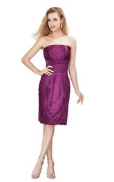 Simple Strapless Knee-length Satin Dress
