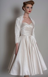 A-Line Sweetheart Criss-Cross Midi Satin Wedding Dress With Cape