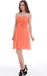 A-line Short Knee-length Sweetheart Chiffon Dress With Flower&Ruffles