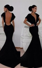 Sexy V-neck Black Mermaid Prom Dress 2018 Open Back