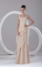 v-neck chiffon long sleeveless dress with layered design