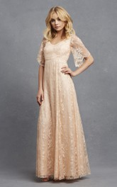 Romantic V-neck A-line Lace Dress With Bell Sleeves