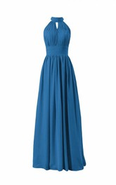 Sleeveless High-neck Long Pleated Chiffon Dress