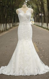 V-neck Sleeveless Mermaid Lace Wedding Dress With Satin Sash