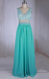Floor-length Bateau-neck Chiffon Dress With Lace Bodice And Beading