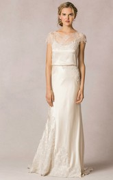 Sheath Scoop-Neck Short-Sleeve Long Appliqued Lace&Satin Wedding Dress