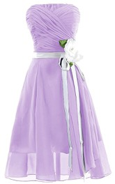 Strapless Ruched A-line Gown With Sash and Flower